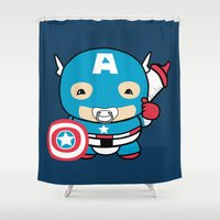 avenger Shower Curtains featuring Littlest Avenger by OneWeirdDude