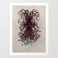 cthulu Art Prints featuring Cthulu by Sybille Sterk