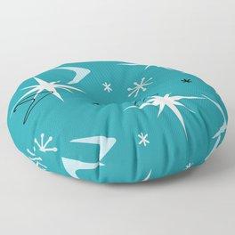 Vintage 1950s Boomerangs Stars Teal Floor Pillow