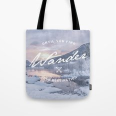 Wanderlust snow landscape winter sunset typography Tote Bag