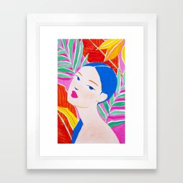 Girl with Ponytail and Palm Framed Art Print