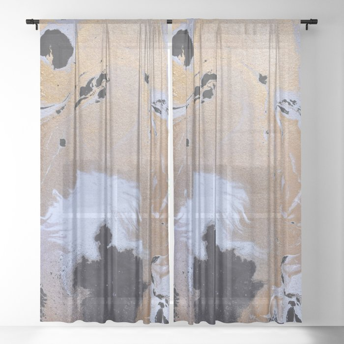 Abstract Black And White Painting With Gold Sheer Curtain By