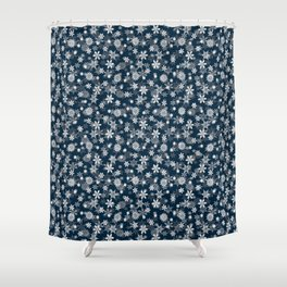 Festive Midnight Blue and White Christmas Holiday Snowflakes Shower Curtain