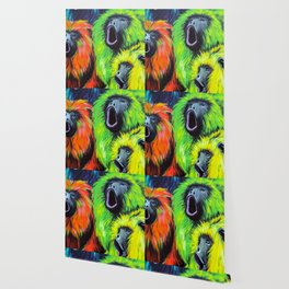Urban Street Art: Screaming Fluorescent Monkeys Wallpaper