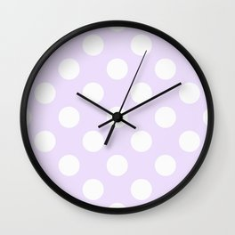 Geometric Orbital Circles In Pale Delicate Summer Fresh Lilac with White Dots Wall Clock
