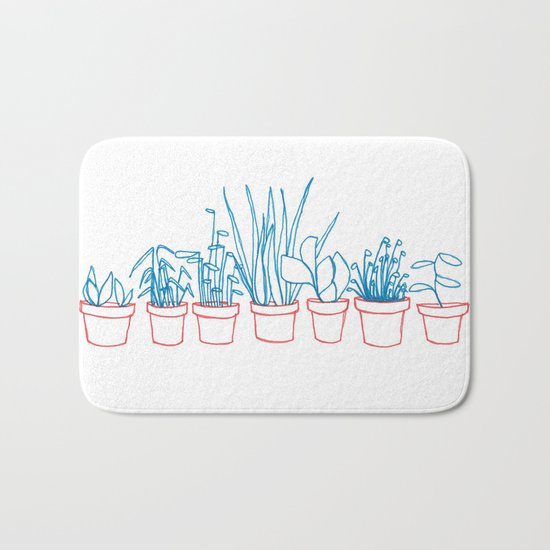 Teal Plants in Red Pots Bath Mat