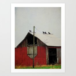 Vultures on the Red Barn Roof Art Print