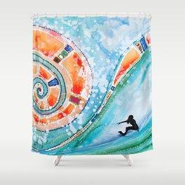 Wahine Surfing Big Rainbow Wave Shower Curtain