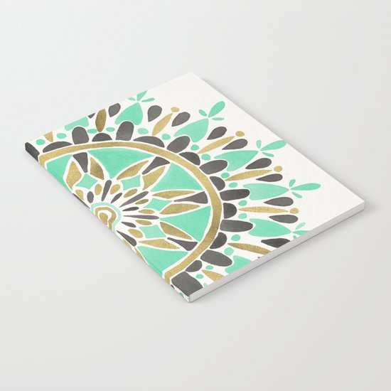 Mint & Gold Mandala Notebook