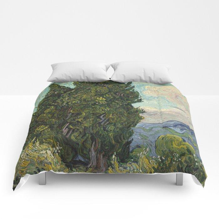 Cypresses Painting Vincent Van Gogh Comforters