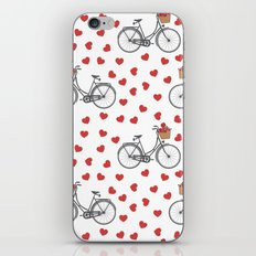 Vintage bicycles and love hearts iPhone & iPod Skin