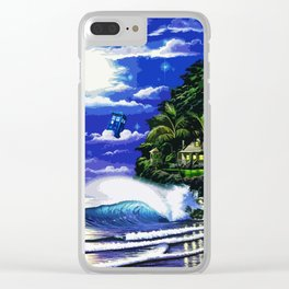 Tardis Art And The Moon Shine Clear iPhone Case