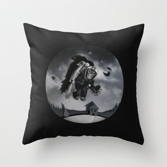 Monkey See Monkey Flew Throw Pillow