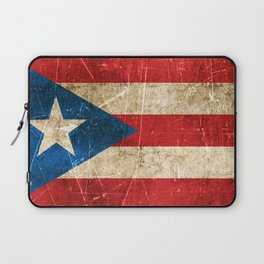 Vintage Aged and Scratched Puerto Rican Flag Laptop Sleeve