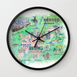 Denver Colorado Map Travel Poster Overview Best Of Typical Highlights Wall Clock