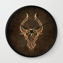 Vintage Rustic Taurus Zodiac Sign Wall Clock