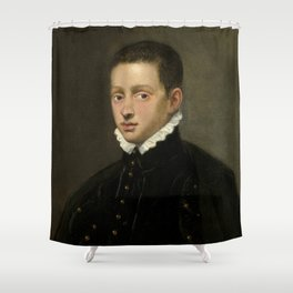 """Tintoretto (Jacopo Robusti) """"Portrait of a boy, probably of the Mocenigo family, bust-length"""" Shower Curtain"""