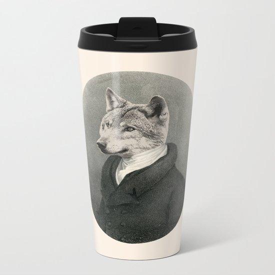 Lithography wolf Metal Travel Mug