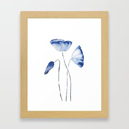 indigo poppy watercolor Framed Art Print