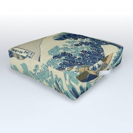 The Classic Japanese Great Wave off Kanagawa Print by Hokusai Outdoor Floor Cushion