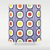 sushi Shower Curtains featuring Sushi by Costanza Reda
