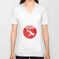 hunting V-neck T-shirts featuring Japan's Hunting by ScottLaserowPosters