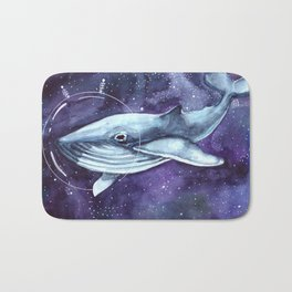 watercolor illustration of a whale in a spacesuit in space Bath Mat