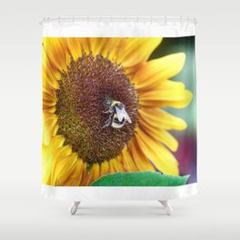 Bee_Flower_Nectar collecting Shower Curtain