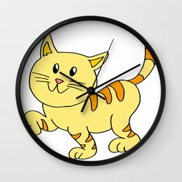 cat yellow Wall Clock