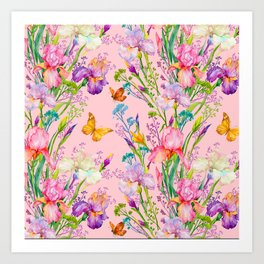 Iris and Butterfly Floral Pattern in Lilac and Pastel Pink Art Print