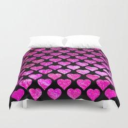 Pink Foil Hearts Duvet Cover