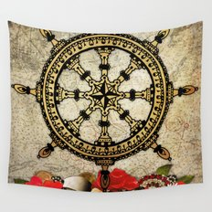 A Ship In Harbor Wall Tapestry