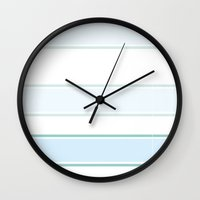 stripe Wall Clocks featuring Stripe by Xiao Twins