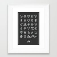 nba Framed Art Prints featuring NBA Team logos (white) by Will Wild