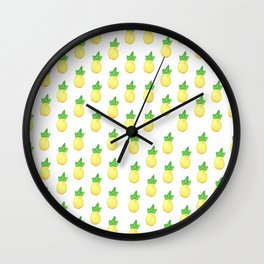 Tropical watercolor green yellow hand painted pineapple Wall Clock