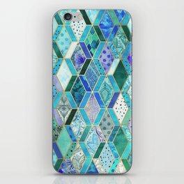 Sapphire & Emerald Diamond Patchwork Pattern iPhone Skin