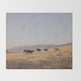 Western Cattle Art Throw Blanket