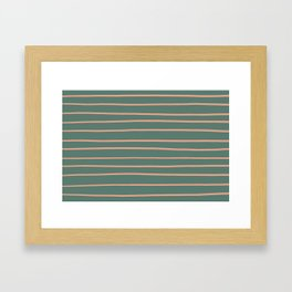Earthen Trail Pink 4-26 Hand Drawn Horizontal Lines on Thistle Green 22-18 Framed Art Print