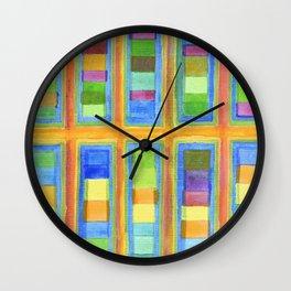 Striped Color Fields in Orange Grid Wall Clock