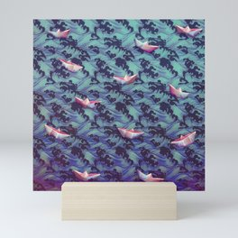 Japanese waves and paper boats Mini Art Print