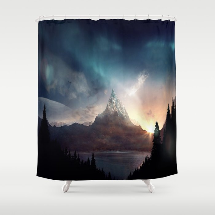 Fantasy mountain shower curtain by gameoftones society6 for Fantasy shower curtains