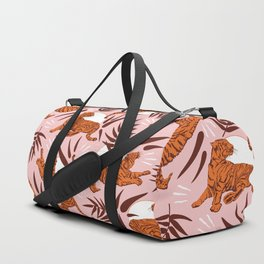 Vibrant Wilderness / Tigers on Pink Duffle Bag