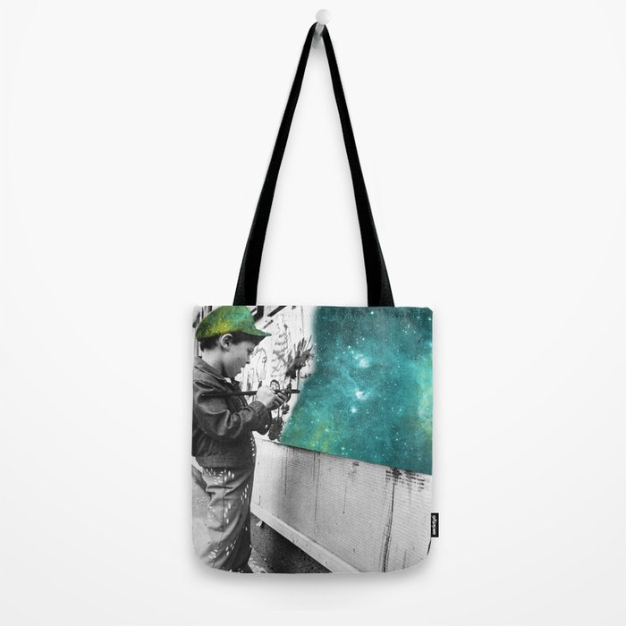KID PAINTING THE UNIVERSE Tote Bag