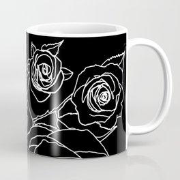 Feminine and Romantic Rose Pattern Line Work Illustration on Black Coffee Mug