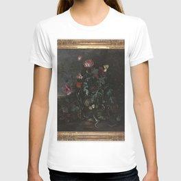 Matthias Withoos - IJsvogel en hagedissen met bloeiende planten in een landschap T-shirt