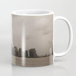 Manhattan skyline and American flag Coffee Mug