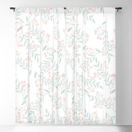 Coral Green Foliage Berries Greenery Plant  Blackout Curtain