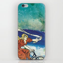 Bicycle girl by the sea iPhone Skin