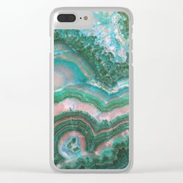 Teal & Pink marble Clear iPhone Case