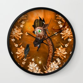 Funny giraffe with feather Wall Clock